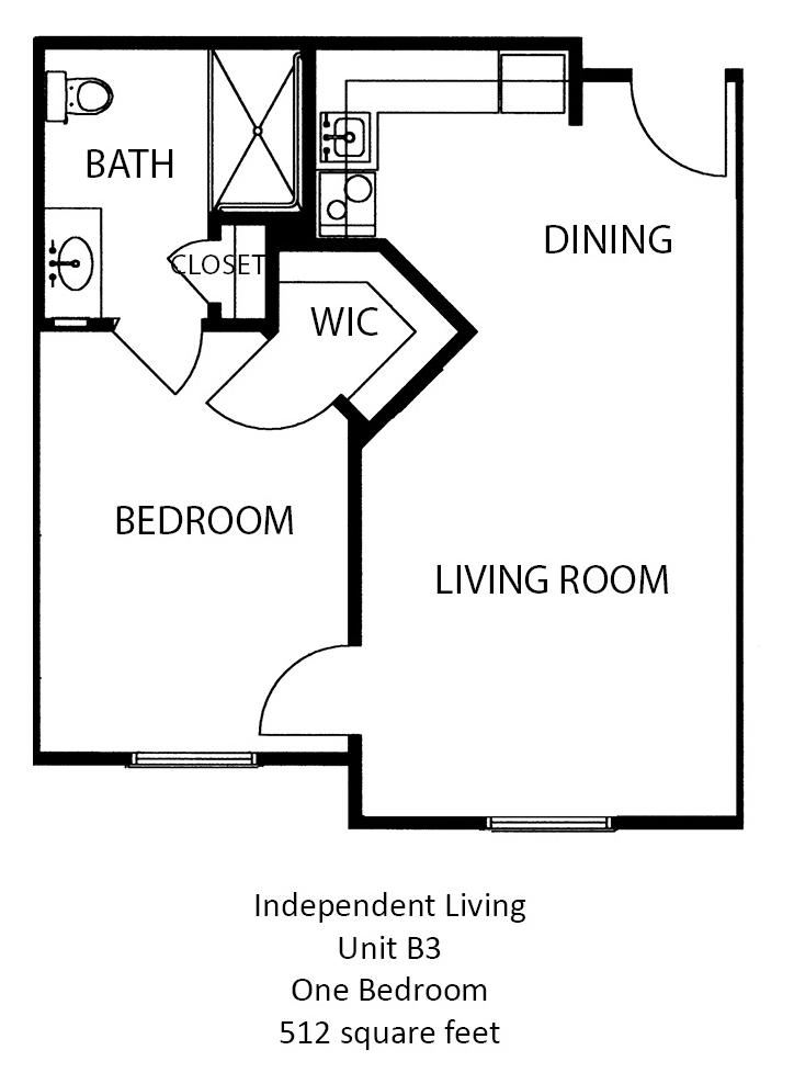512 sq. ft. floor plan