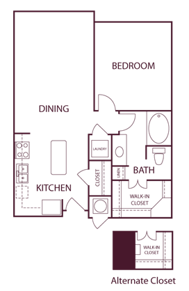 765 sq. ft. A1 floor plan