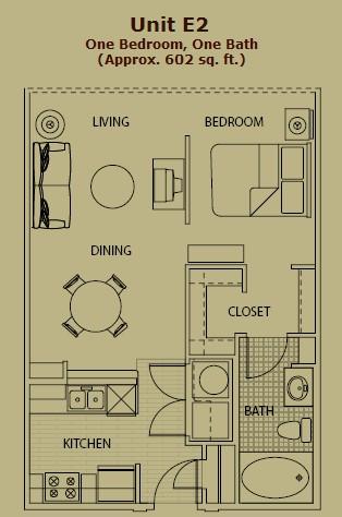 635 sq. ft. E2 floor plan