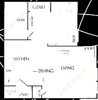 477 sq. ft. A1 floor plan