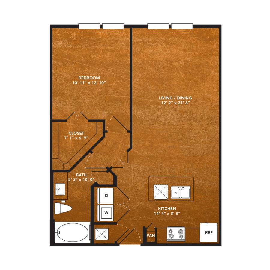 744 sq. ft. A4J floor plan