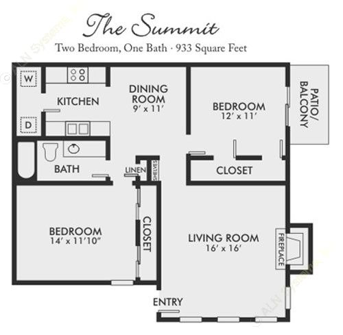 933 sq. ft. Summit floor plan