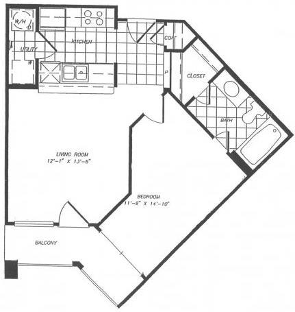 559 sq. ft. A4 floor plan