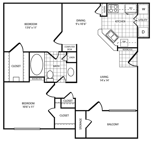 913 sq. ft. Treasure floor plan
