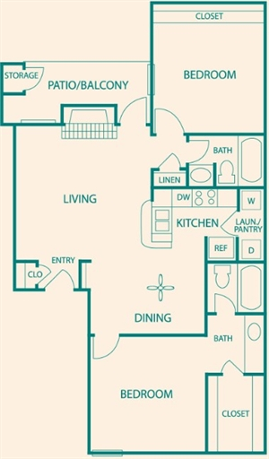 650 sq. ft. 650sf B1 floor plan