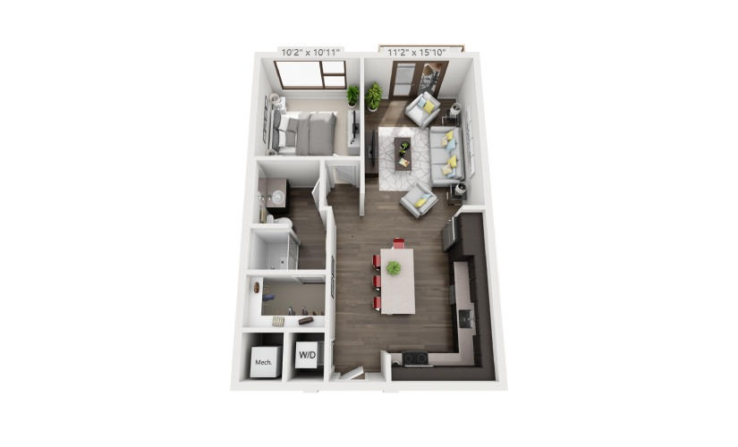 717 sq. ft. A2A floor plan