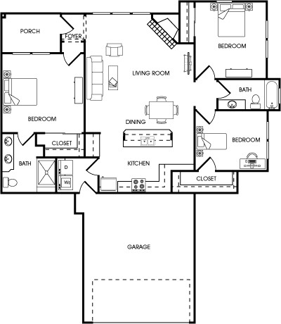1,400 sq. ft. Tarragon floor plan