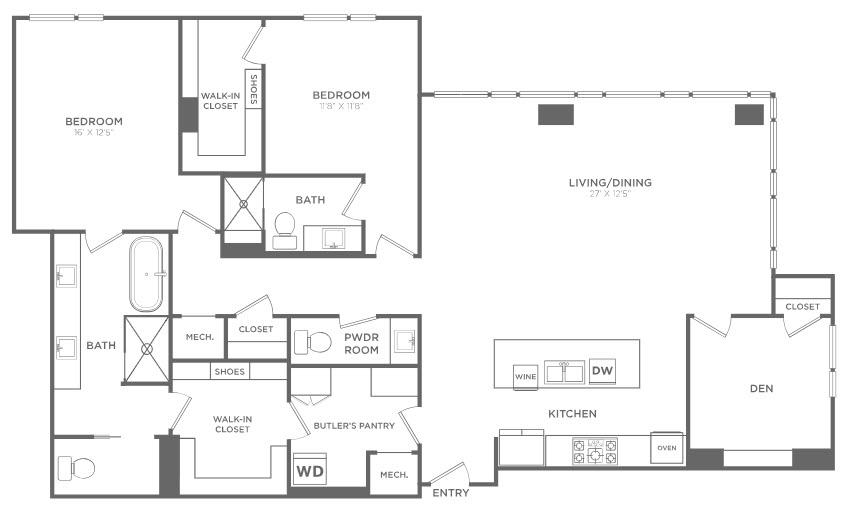 2,066 sq. ft. PH4 floor plan