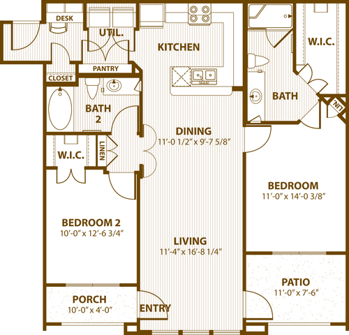1,098 sq. ft. C2 60% floor plan