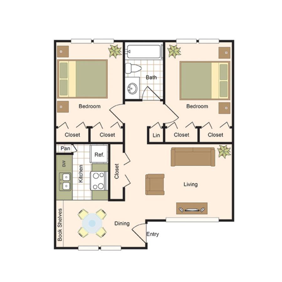 893 sq. ft. B1 floor plan
