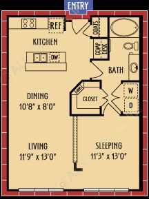 740 sq. ft. A1 floor plan