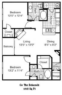 1,026 sq. ft. C4 floor plan