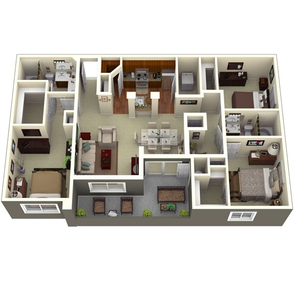 1,356 sq. ft. Spruce 1 floor plan