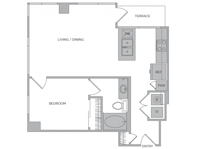 830 sq. ft. 1K floor plan