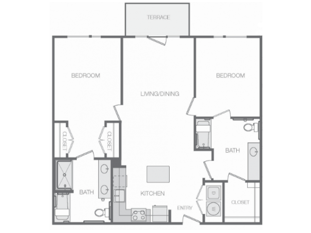 1,170 sq. ft. Mkt floor plan