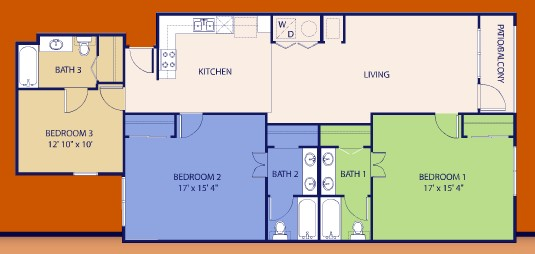 1,493 sq. ft. Three floor plan