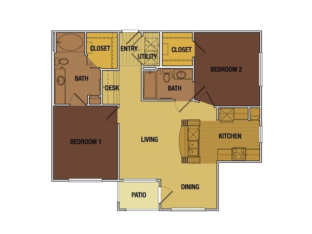 1,051 sq. ft. Susanna Dickinson floor plan