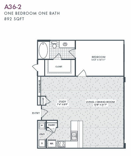 892 sq. ft. A36-2 floor plan