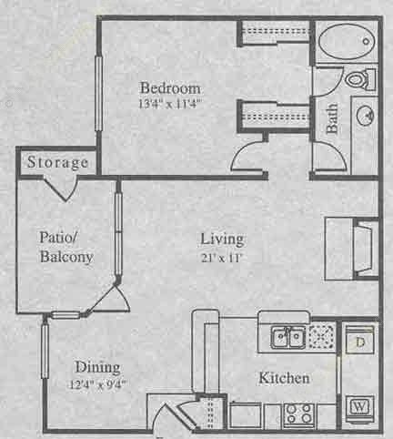 820 sq. ft. A-2 floor plan