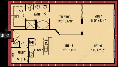 1,028 sq. ft. A10 floor plan