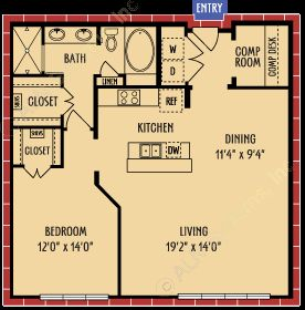 987 sq. ft. A8 floor plan