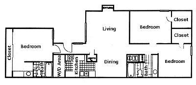 1,155 sq. ft. floor plan