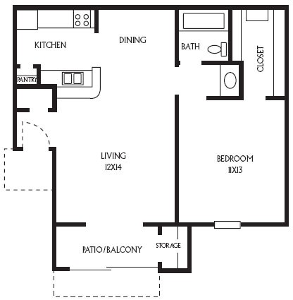 614 sq. ft. A4 floor plan