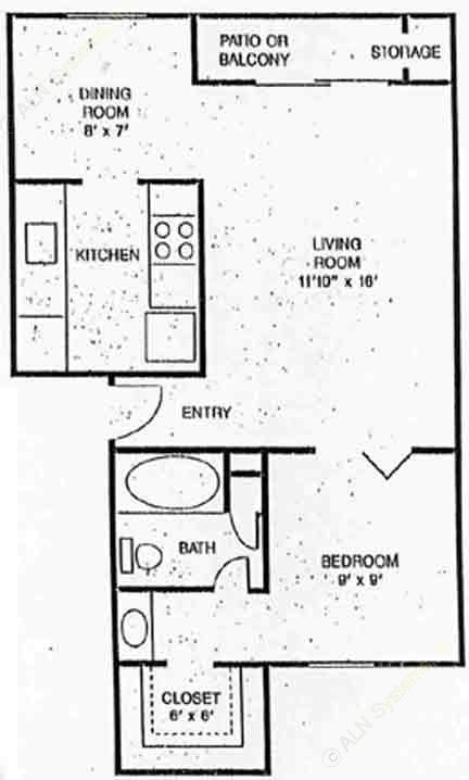 550 sq. ft. Orleans floor plan