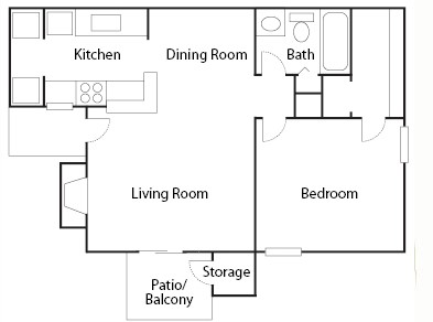 651 sq. ft. A1/A2 floor plan