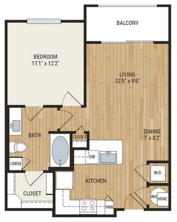 690 sq. ft. Aten floor plan