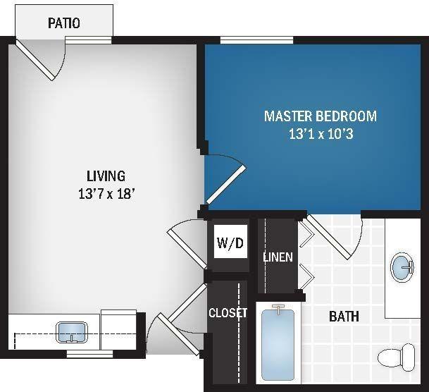 498 sq. ft. to 520 sq. ft. Vespera floor plan