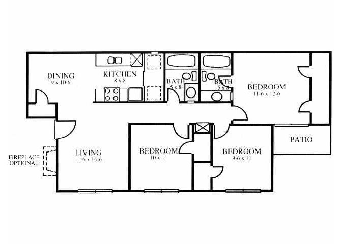 1,039 sq. ft. C floor plan