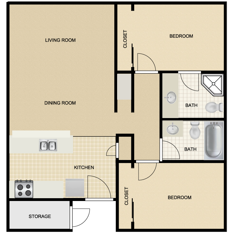 988 sq. ft. floor plan