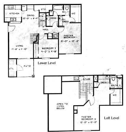 1,305 sq. ft. C2 floor plan