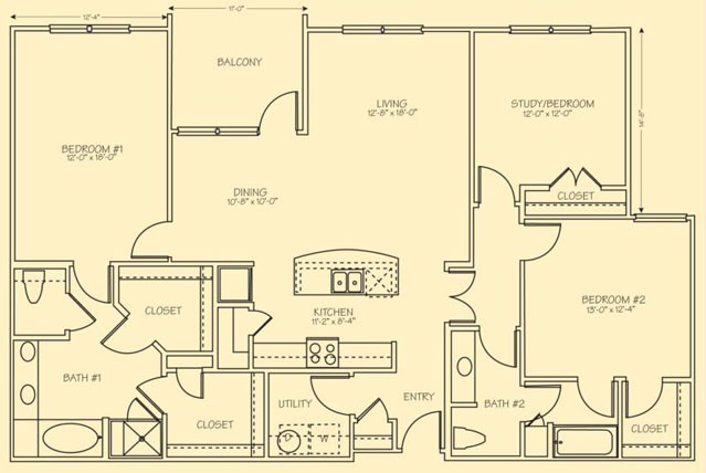 1,664 sq. ft. C1 floor plan