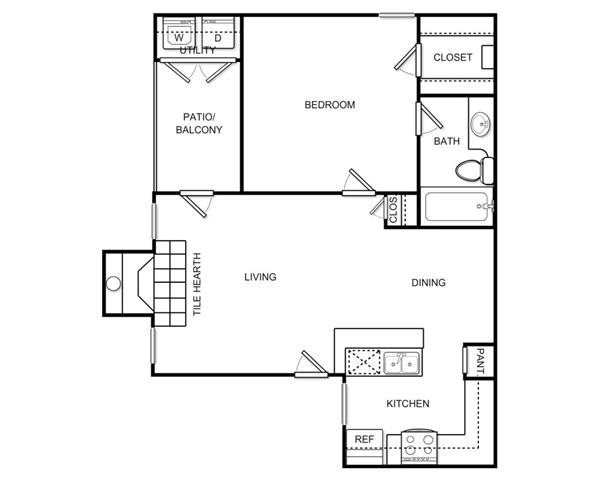 638 sq. ft. A1B floor plan