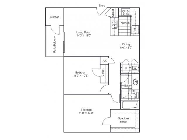 861 sq. ft. B1 floor plan