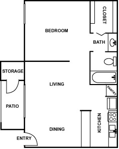 510 sq. ft. AA floor plan