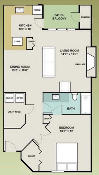827 sq. ft. 1-1 floor plan