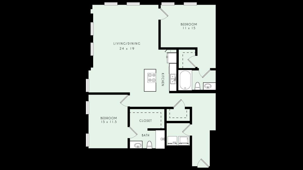 1,532 sq. ft. B13 floor plan