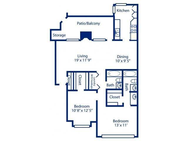 1,077 sq. ft. B6 floor plan