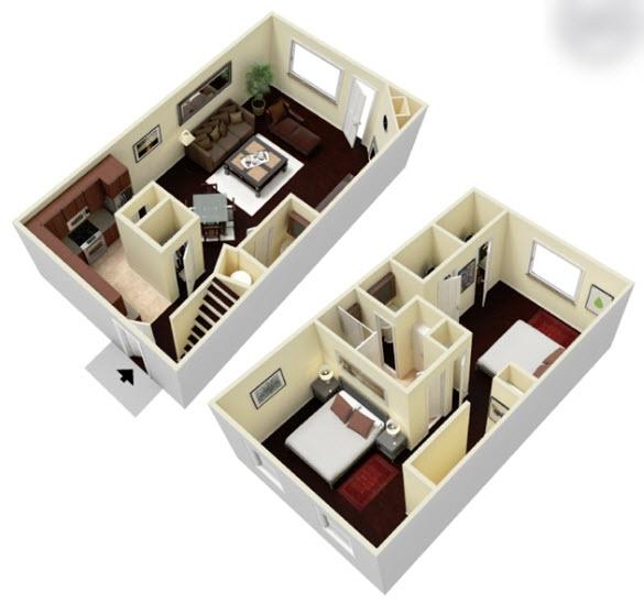 1,150 sq. ft. B1.5T floor plan