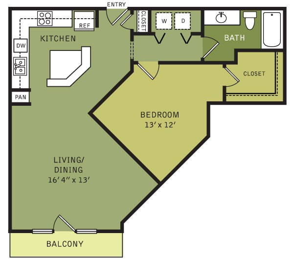 865 sq. ft. A3 (II) floor plan