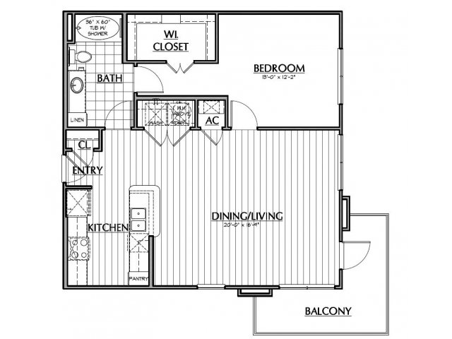 895 sq. ft. A3.2 floor plan