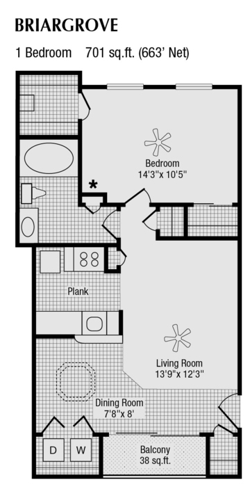 663 sq. ft. to 701 sq. ft. A floor plan