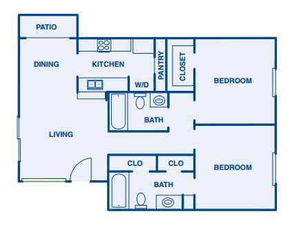 1,036 sq. ft. B3 floor plan