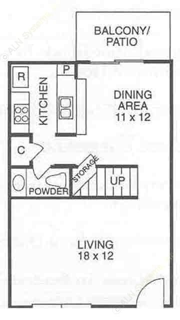 1,232 sq. ft. C1 floor plan