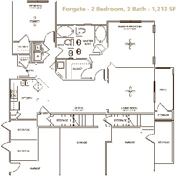 1,212 sq. ft. Forgate floor plan