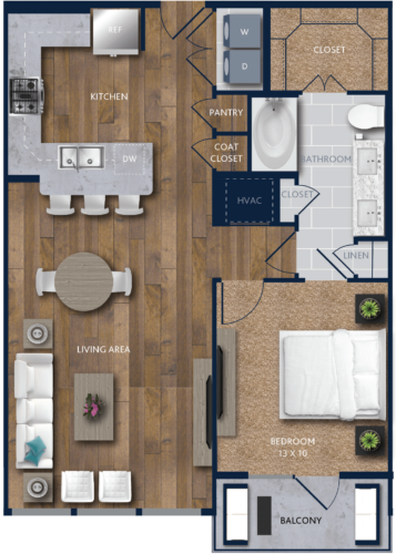 898 sq. ft. A8 floor plan