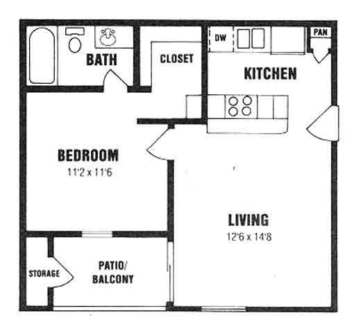 508 sq. ft. A-1 floor plan